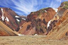 De släta bergen i isländsk reserv Royaltyfria Bilder