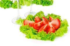 De sla en de tomaat van bladeren Royalty-vrije Stock Afbeeldingen