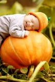 De slaap van de baby op grote pompoen Stock Fotografie