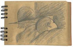 De slaap van de baby sketchbook Stock Foto