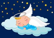 De slaap van de babyjongen in de maan stock illustratie