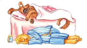 De slaap van de hond en van de eigenaar Stock Fotografie