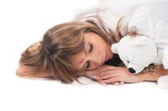 De slaap van de vrouw Stock Foto's