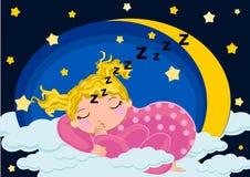 De slaap van het babymeisje in de maan Royalty-vrije Stock Foto's