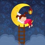 De slaap van het babymeisje op de maan onder de sterren Stock Foto