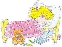 De slaap van het meisje stock illustratie