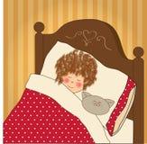 De slaap van het meisje met haar stuk speelgoed Stock Fotografie
