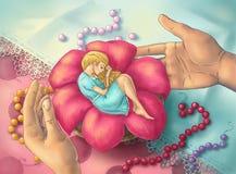 De slaap van Thumbelina in een bloem. Stock Afbeeldingen