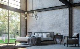 De slaapkamer 3d teruggevend beeld van de zolderstijl vector illustratie