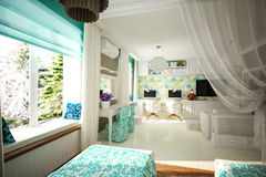 De slaapkamer van binnenlandse kinderen Royalty-vrije Stock Afbeeldingen