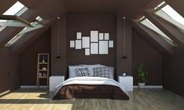 de slaapkamer van de chocoladekleur op zolder met het model van fotokaders stock afbeeldingen