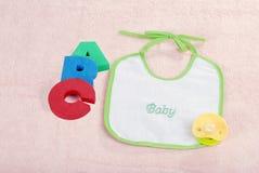 De slab van de baby met van A B c- brieven stock foto