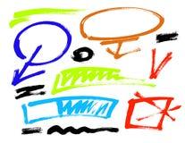 De van de Grungeborstel Vector Verschillende de slagenkleurenelementen van de grungeborstel reeks Stock Fotografie