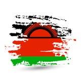 De slag van de Grungeborstel met de nationale vlag van Malawi stock foto