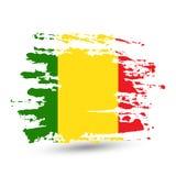 De slag van de Grungeborstel met de nationale vlag van Mali stock foto