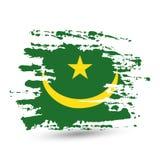 De slag van de Grungeborstel met de nationale vlag van Mauretanië stock fotografie