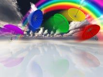 De slag van paraplu's in surreal landschap Royalty-vrije Stock Afbeelding