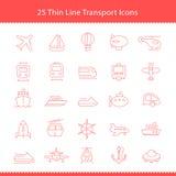De Slag van Thinline van vervoerpictogrammen vector illustratie