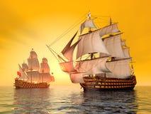 De Slag van Trafalgar Stock Foto
