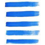 De slagen van de blauwe inktborstel Royalty-vrije Stock Foto's