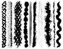 De slagen van de de inktborstel van Grunge Stock Afbeeldingen