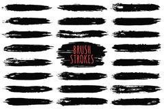 De slageninzameling van de borstel Hand getrokken borstelslagen, zwarte verfslagen en inktlijnen Ontwerpelementen, tekstvakjes stock illustratie