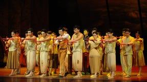 De slagwerkers dansen - De derde handeling van de gebeurtenissen van dans drama-Shawan van het verleden royalty-vrije stock foto