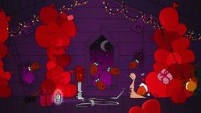 De slak Gelukkig Nieuwjaar van de jong geitjekerstman met giften royalty-vrije illustratie
