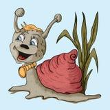 De slak in de grasglimlachen Stock Afbeelding