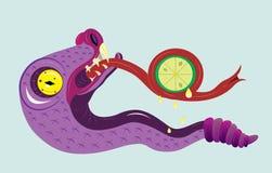 De slang eet een citroen. Stock Foto