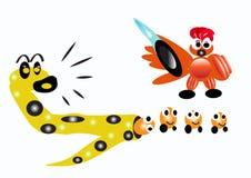 De slang en de kip van het beeldverhaal Stock Foto