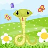 De Slang Vector Dierlijke Illustratie van beeldverhaal Leuke Groene Glimlachen stock illustratie