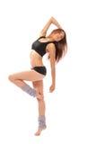 De slanke de vrouwenballetdanser van de jazz moderne stijl stelt royalty-vrije stock foto