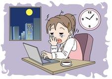 De slaperige vrouw van het overwerkbeeld - vector illustratie