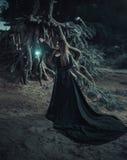 De slechte heks in een lange uitstekende kleding, roept de geest op Stock Foto