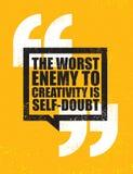 De Slechtste Vijand aan Creativiteit is zelf-Twijfel Het inspireren Creatief de Affichemalplaatje van het Motivatiecitaat Vectort royalty-vrije illustratie