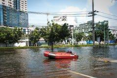 De slechtste vloed van Bangkok in 2011 Stock Foto