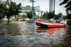 De slechtste vloed van Bangkok in 2011 Royalty-vrije Stock Afbeelding