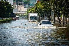 De slechtste vloed van Bangkok in 2011 Stock Afbeeldingen