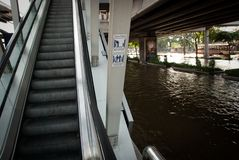 De slechtste vloed van Bangkok in 2011 Stock Afbeelding