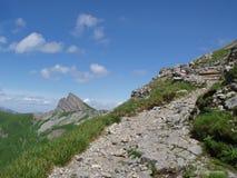 De sleep van de wandeling aan faulhorn Zwitserland stock fotografie