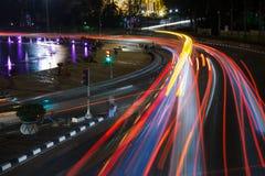 De Sleep van voertuigenlichten Stock Afbeelding