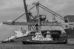 De sleepboot Sirius duwt bulk-carriersamos Majesteit Royalty-vrije Stock Afbeeldingen