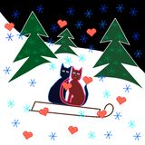 De sleerit van liefdekatten door de sneeuwhelling Royalty-vrije Stock Afbeeldingen