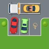 De slepenvrachtwagen neemt de auto in het Parkeerterrein royalty-vrije illustratie
