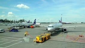 De slepenvrachtwagen vervoerden stijve de vliegtuigen` Aeroflot ` luchtvaartlijnen van de trekbalk grootste passagier stock videobeelden