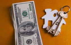 De sleutel en de dollars van het huis Royalty-vrije Stock Fotografie