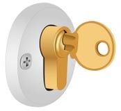 De sleutel in het slot Royalty-vrije Stock Afbeeldingen