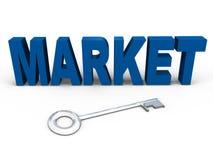 De sleutel tot de markt - een 3d beeld Stock Afbeelding