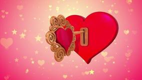 De sleutel tot het hart Het van een lus voorzien 3d animatie stock video